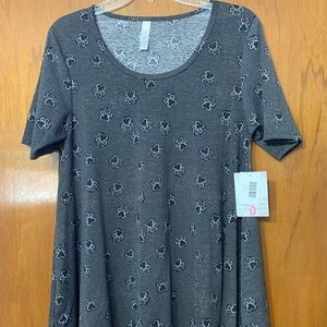Lularoe gray and black paw print perfect t